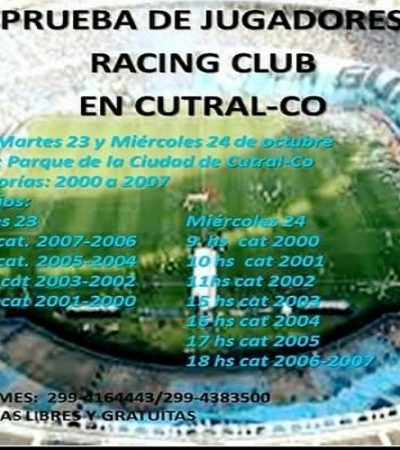 Racing buscará talentos en Cutral Co